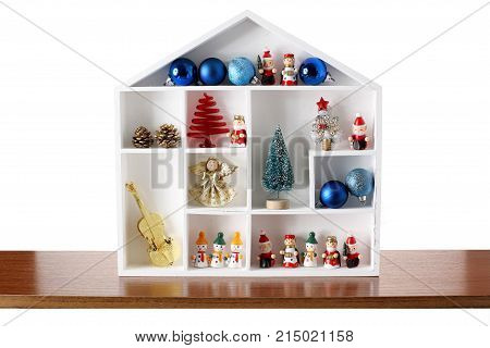 Miniature Christmas Decorations on a White Background