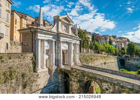 Bergamo - July 2017, Lombardy, Italy: View of the upper town in Bergamo