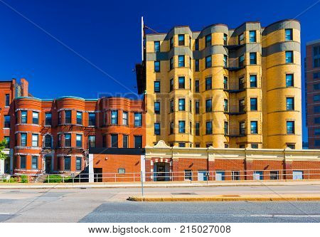 Boston - July 2016, MA, USA: Residential blocks of flats on one of the streets of Back bay in Boston