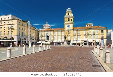 Parma - July 2017, Italy: View of The Governor's Palace and monument of Giuseppe Garibaldi in the center of Parma, the famous Italian city