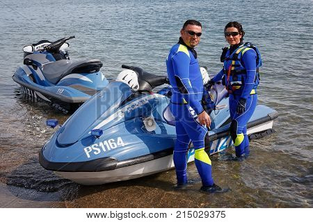 Rome Italy - May 9 2009: Maritime police agents special police department of Italy are preparing to go to the beach in a public exercise during the celebrations of the 157th anniversary of the police foundation.