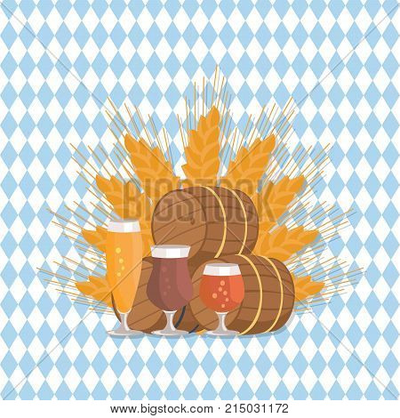 Beer degustation vector with wooden barrels and three glasses of beer, draught pale and dark beers on ears of wheat on checkered background poster