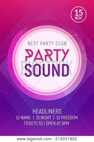 Electro dance party music night poster template. Electro style concert disco club party event invitation. poster