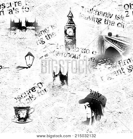 Black and white London grunge background. Seamless texture with hand drawn elements unreadable text tea cup fashion girl. Pattern for wrapping wallpaper textile fabric.