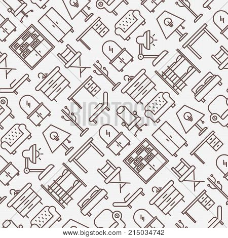Furniture seamless pattern with thin line icons of coach, bookcase, bed,  dresser, chair, lamp, floor hanger. Modern vector illustration.