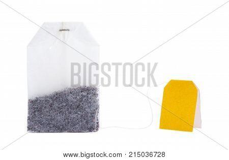 Closeup tea bag isolated on white background