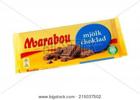 Stockholm Sweden - November 17 2017: Marabou milk chocolate bar for the Swedish market. Marabou is a Swedish chocolate brand first launched in 1919. Package from November 2017 isolated on white background.