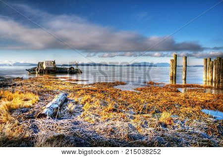 A boat is ship wrecked in Samish Bay near Bellingham, WA.