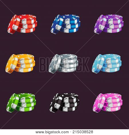 A set of colored casino chips stock vector illustration isolated on dark background