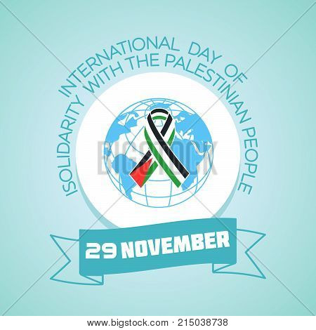 Calendar for each day on november 29. Greeting card. Holiday - International Day of Solidarity with the Palestinian People. Icon in the linear style poster