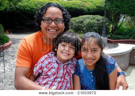 Cute Hispanic family