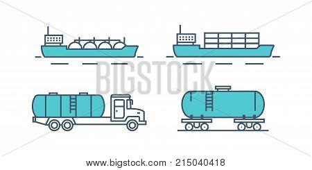 Transportation petroleum products. Sea freight, train, transportation on machine, car. Oil plant, production, gasoline, storage, drilling rig, tanker. Illustration thin line design of vector doodles.