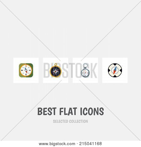 Flat Icon Orientation Set Of Magnet Navigator, Direction, Instrument And Other Vector Objects