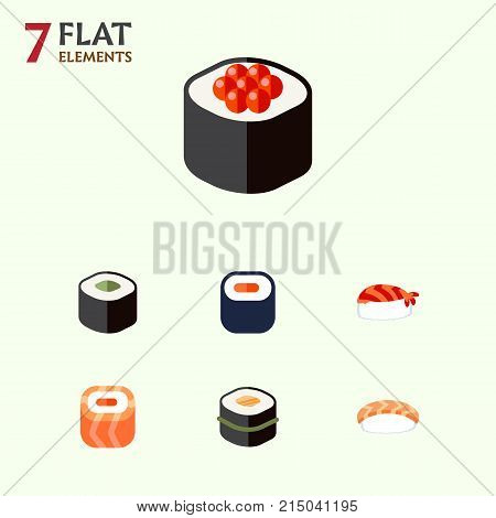 Flat Icon Salmon Set Of Sushi, Maki, Japanese Food And Other Vector Objects