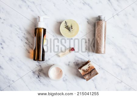 Aroma bottle, essential oil and other natural cosmetic, top view. SPA care
