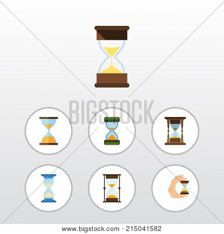 Flat Icon Hourglass Set Of Sandglass, Measurement, Waiting Vector Objects