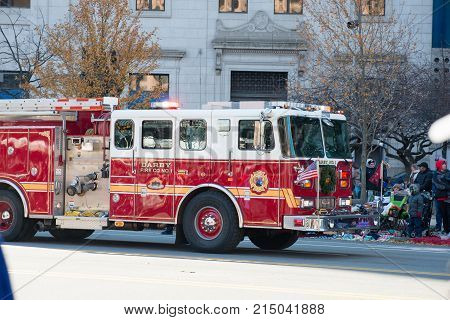Philadelphia, PA - November 23, 2017: View of Fire Engine Annual Thanksgiving Day Parade in Center City Philadelphia, PA