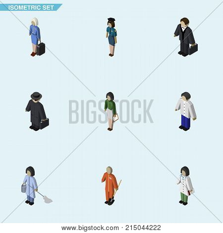 Isometric People Set Of Doctor, Pedagogue, Cleaner And Other Vector Objects