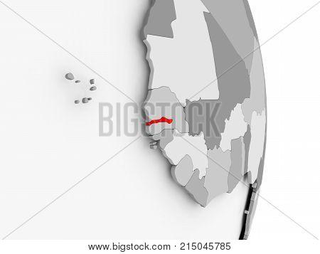 Gambia On Grey Political Globe