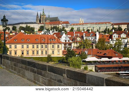 Panoramic view on St. Vitus Cathedral from Charles Bridge in Prague Czech Republic
