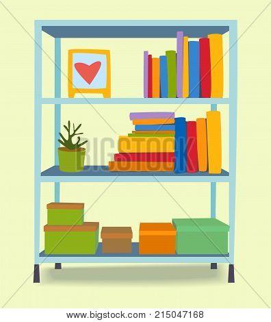 Furniture shelf home design modern living room house comfortable apartment vector illustration. Contemporary luxury flat elegancee retro bedroom shelving interior.