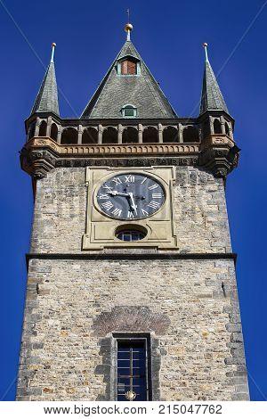 Old Town Clock tower in Stare Mesto Prague Czech Republic