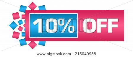Discount 10 percent off concept image with text over blue pink background.