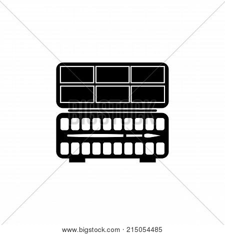 Silhouette flat icon vector design. Artist's palette with watercolor paint and brush for illustration of painting art painting materials and school supplies. Symbol of creation and painting lessons icon on white background