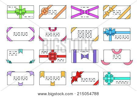 Lineart greeting card letter message paper gift writing bows ribbons set flat design abstract vector illustration