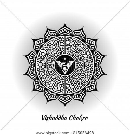 Vishuddha chakra symbol used in Hinduism, Buddhism, Ayurveda. The root chakra design for yoga studios, posters, banners, v-cads