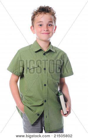 Little boy  holding her book