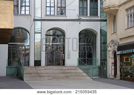 VIENNA AUSTRIA - JULY 10 2015: Aula of Sciences Culture Building at Wollzeile Street in Vienna Austria.