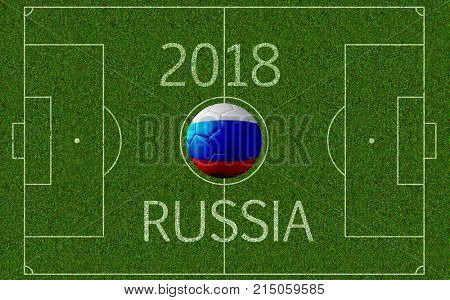 3D rendering of soccer pitch seen from above with superimposed soccer ball with imprinted Russian flag colors and 2018 Russia text