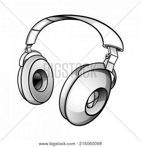 Tech illustration of a glossy modern dj headphones