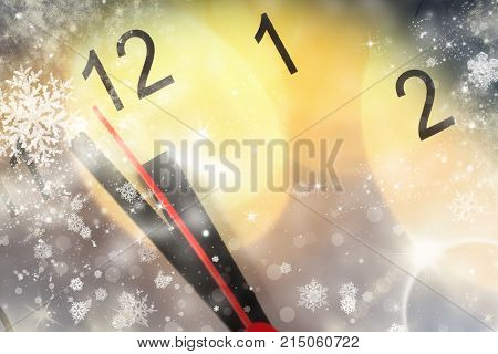 old clock at twelve o'clock with holiday lights and copy space - New Year's