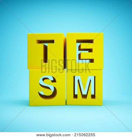 Cubes with word STEM education on blue background. 3D illustration.