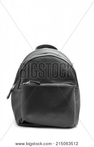 a black leatherette backpack on a white background