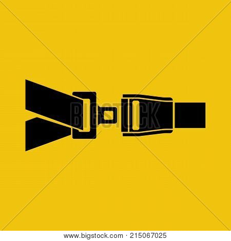 Seat Belt silhouette black icon isolated on yellow background. Safety of movement on car, airplane. Vector illustration flat design. Protection driver and passengers. Fastened buckle symbol.