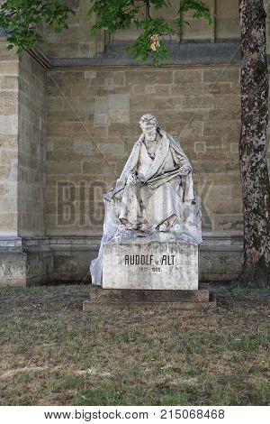 VIENNA AUSTRIA - JULY 11 2015: Rudolf Alt Painter Sculpture in Vienna Austria.