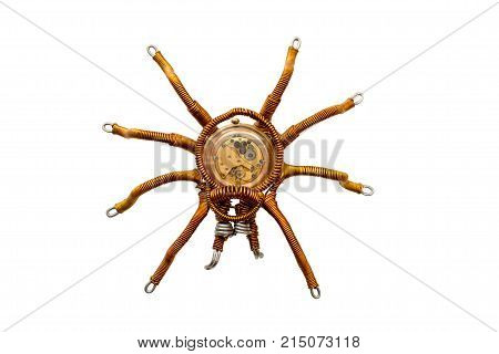 Metal spider with built-in clockwork isolated on white background steampunk style close-up
