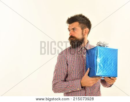 Surprise And Holiday Gift Concept. Guy In Plaid Shirt