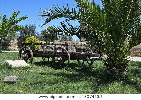 The cart for agricultural work.Used in the pre-automotive times vehicile.Ecologically clean.They are made of wood and the iron details.The remaining force was horsesdonkeysbuffaloes