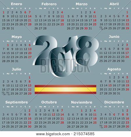 calendario 2018. Calendar new year 2018. elegant squared calendar in spanish . Year 2018 calendar. week starts on monday