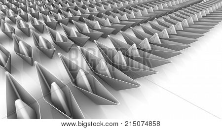 Paper ships in the ranks. A many paper boats in the ranks on a white surface. 3D Illustration