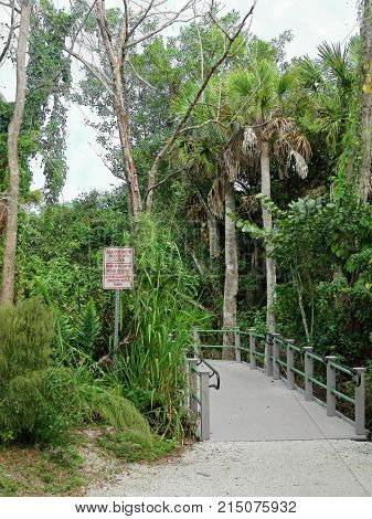 Alligator Habitat Proceed With Caution Sign Wildlife Refuge Sanibel Florida Bailey Homestead Preserve Trail