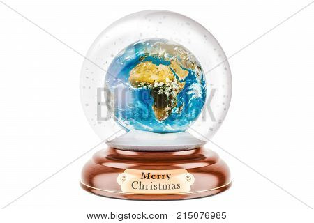 Christmas snow globe with Earth Globe inside 3D rendering isolated on white background