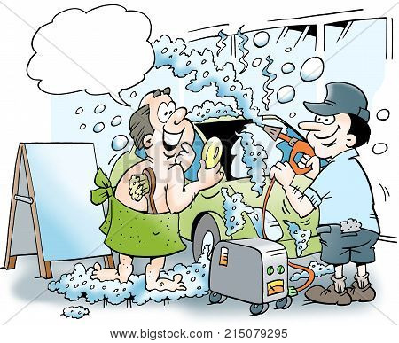 The car and the owner gets a hot bubble bath