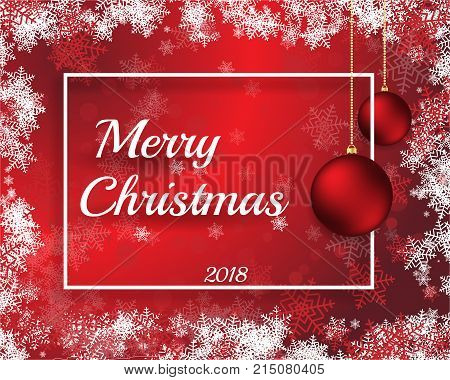 Merry Cristmas 2018 vector illustration with red bals heppy new year