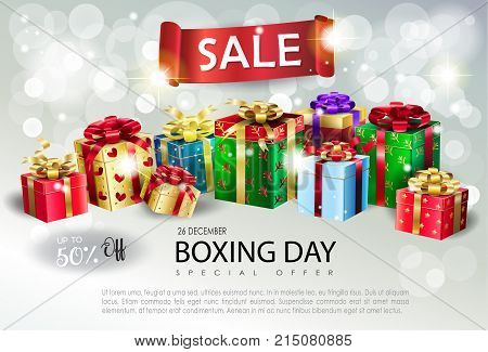 Boxing Day Sale poster. Gift Boxes with bow, satin ribbon banner on bokeh lights, defocused sparkles silver color, background template, presents. Christmas and New Year Winter Holiday advertising design vector template.