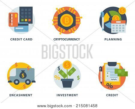 Money finanse banking safety icons business currency card financial deposit bank payment vector illustration. Exchange commerce symbols check investment payment design